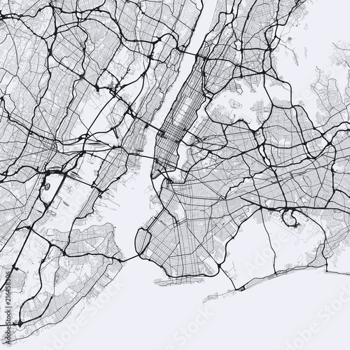 Light New York City map. Road map of New York (United States). Black on