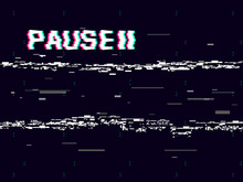 Glitch Pause With Symbol On Dark Background. Retro VHS Backdrop. Abstract White Distortions. Video Cassette Effect. Vector Illustration