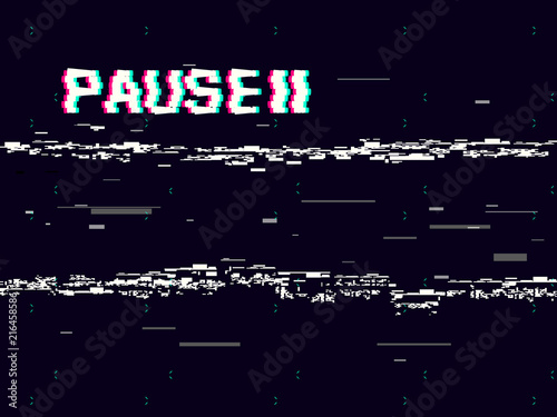 Glitch pause with symbol on dark background Wallpaper Mural