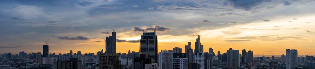 Panel Szklany panorama of cityscape on sunrise skyline bbackground