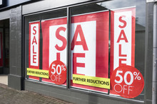 Shop Window Sale Sign Clothes Red White Banner Store