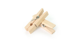 Wooden Clothes Pin On White Ba...