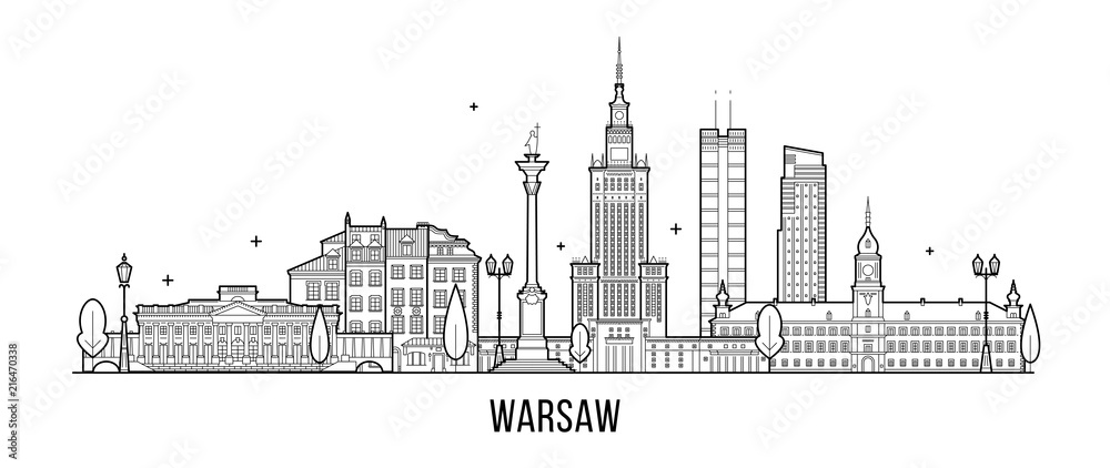 Fototapety, obrazy: Warsaw skyline Poland city buildings vector