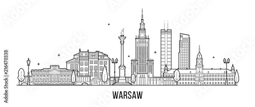 Fotografiet Warsaw skyline Poland city buildings vector