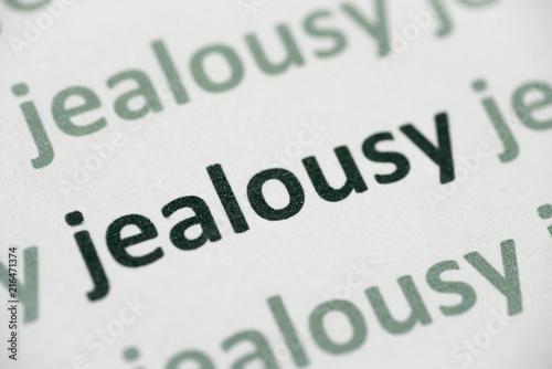 Fototapeta word jealousy printed on paper macro