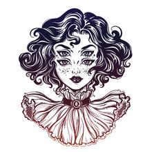 Gothic Witch Girl Head Portrai...