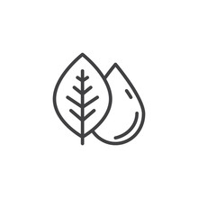 Leaf And Rain Drop Outline Icon. Linear Style Sign For Mobile Concept And Web Design. Dew And Leaf Simple Line Vector Icon. Symbol, Logo Illustration. Pixel Perfect Vector Graphics