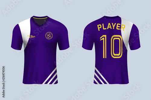 870a84ba3 3D realistic mock up of front and back of soccer jersey shirt. Concept for  violet