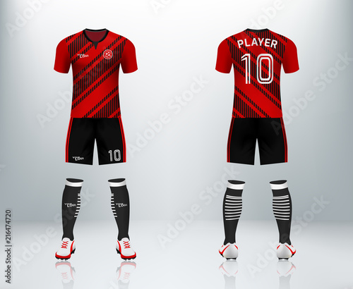 f4d563bdd4d 3D realistic mock up of front and back of soccer jersey shirt. Concept for  red