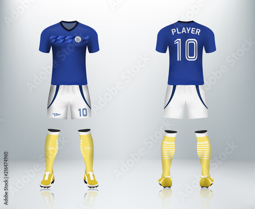 127f913f1 3D realistic mock up of front and back of soccer jersey shirt. Concept for  blue