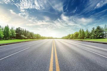 Asphalt road and green forest landscape under the blue sky