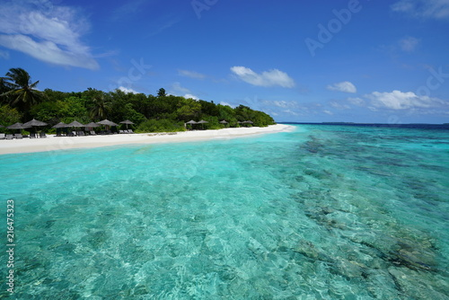 Photo View of a beautiful beach with turquoise water in Baa Atoll, Maldives