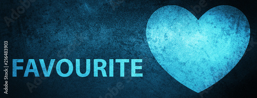 Fotografie, Obraz  Favourite (heart icon) special blue banner background