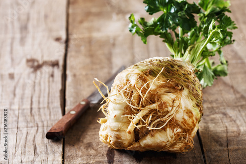 Fresh organic celeriac root on rustic wooden background