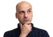 Leinwanddruck Bild - portrait of a bald man wondering