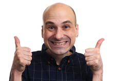 Cunning Bald Man Showing Thumb...