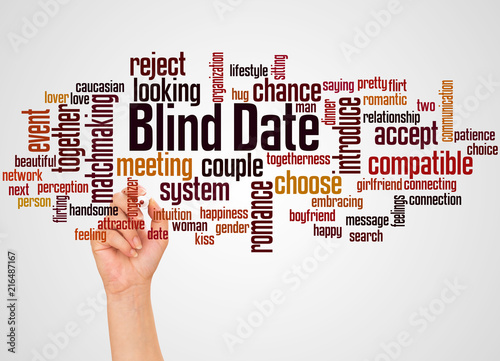 Photo Blind date word cloud and hand with marker concept