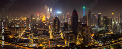 Foto op Canvas Kuala Lumpur Night panorama of Kuala Lumpur, Malaysia