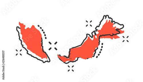 Photo Vector cartoon Malaysia map icon in comic style