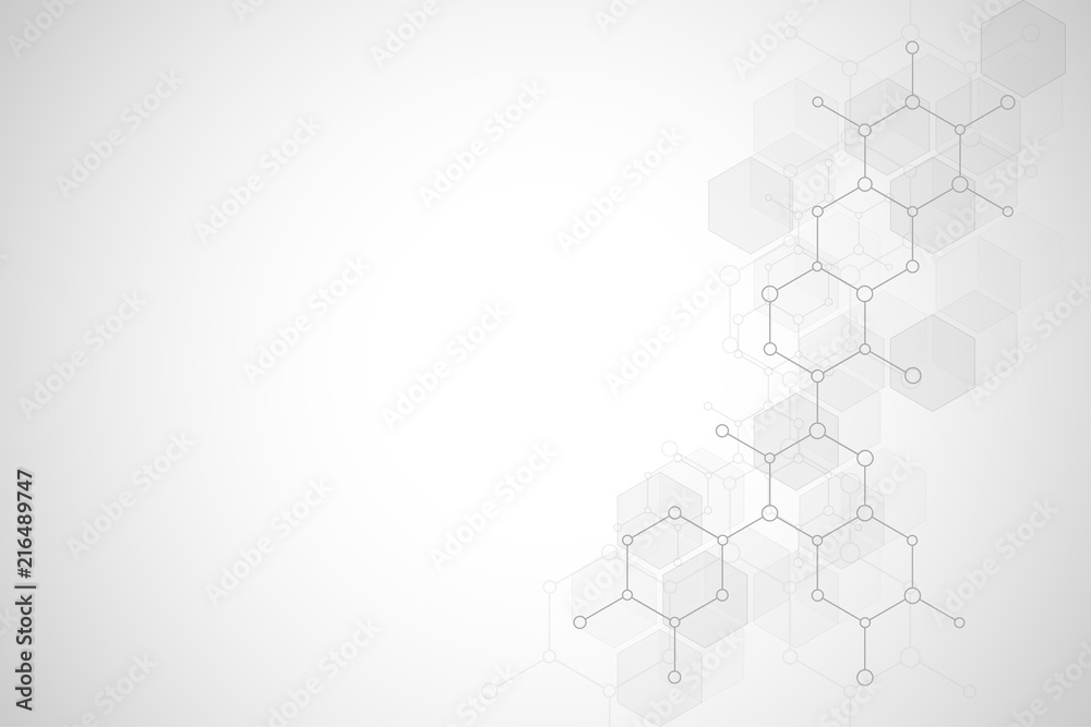 Fototapeta Abstract molecular structure and chemical elements. Medical, science and technology concept. Vector geometric background from hexagons.