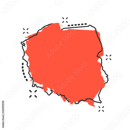 Vector cartoon Poland map icon in comic style Tablou Canvas