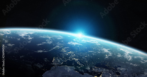 Obraz View of blue planet Earth in space 3D rendering elements of this image furnished by NASA - fototapety do salonu