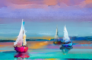 Fototapeta Abstrakcja Colorful oil painting on canvas texture. Impressionism image of seascape paintings with sunlight background. Modern art oil paintings with boat, sail on sea. Abstract contemporary art for background