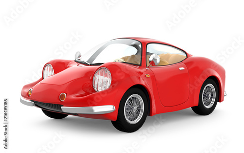 retro sport car cartoon 3d