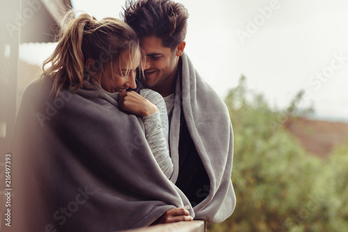 Romantic couple on a winter holiday Canvas Print