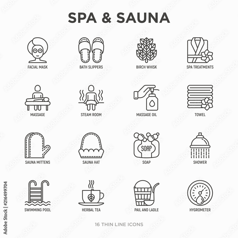 Fototapeta Spa & sauna thin line icons set: massage oil, towels, steam room, shower, soap, pail and ladle, hygrometer, swimming pool, herbal tea, birch, whisk, spa treatments, facial mask. Vector illustration.