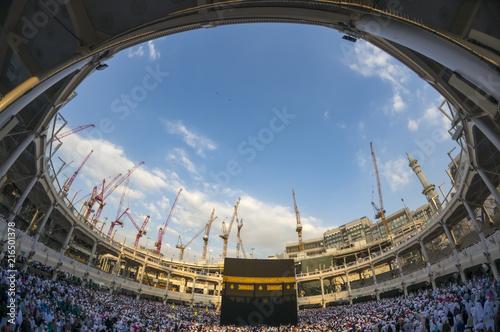 WIde angle view of Muslim pilgrims circumambulate the Kaaba counter-clockwise at Masjidil Haram in Makkah, Saudi Arabia.