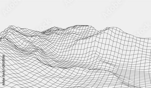 Cuadros en Lienzo Wireframe landscape wire