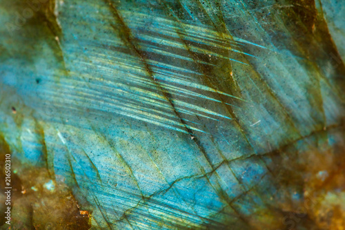 Photo sur Toile Les Textures Macro mineral stone Labradorite on white background