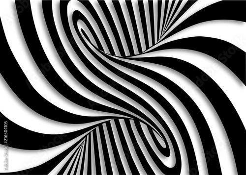 Plakaty czarno białe  black-and-white-lines-optical-illusion-horizontal-background