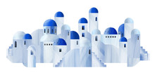 White Houses With Blue Domed R...