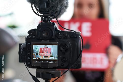 Fototapeta Camera showing vlogger recording content for daily vlog obraz na płótnie