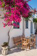 Picturesque street view in Lefkes village on Paros island, Cyclades, Greece