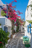 Fototapeta Uliczki - View of a typical narrow street in old town of Naoussa, Paros island, Cyclades, Greece