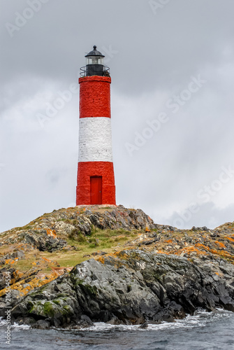 Garden Poster Lighthouse Lighthouse Les Eclaireurs built on a small island in the Beagle Channel