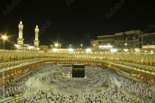 A 6-second exposures of pilgrims circumabulate (tawaf) Kaaba in Makkah, Saudi Arabia. Pilgrims circumambulate the Kaaba seven times in counterclockwise direction.