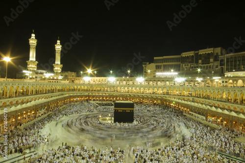 A 6-second exposures of pilgrims circumabulate (tawaf) Kaaba in Makkah, Saudi Arabia. Pilgrims circumambulate the Kaaba seven times in counterclockwise direction.