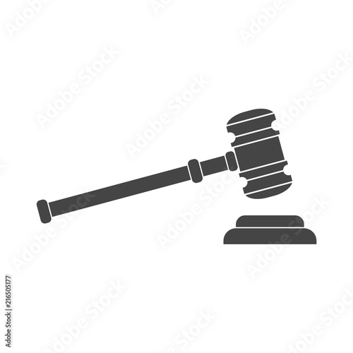 Gavel judge vector illustration in flat style Canvas Print