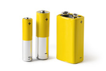 Three Batteries (AAA, AA And PP3), Isolated On White Background