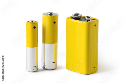 Photo Three batteries (AAA, AA and PP3), isolated on white background