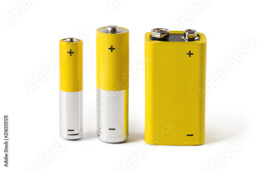 Foto Three batteries (AAA, AA and PP3), isolated on white background
