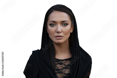 Fototapeta beautiful woman covers her head with hi jab.fashionable arabian style girl.beauty portrait obraz