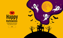 Happy Halloween , Scary Night Backgrounds , Vector Illustration.
