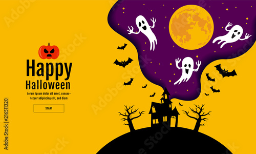 Fotografie, Obraz Happy Halloween , scary night backgrounds , vector illustration.