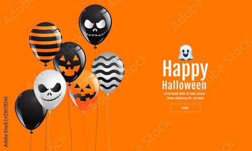 Fotografia, Obraz  Halloween Banner ,Ghost , Scary ,spooky ,air balloons, template Vector illustration