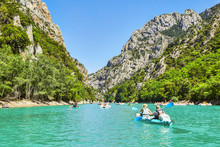 St Croix Lake, Les Gorges Du Verdon With Tourists In Kayaks, Boa